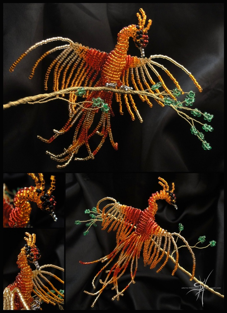 BEADED PHOENIX: I LOVE phoenixes. So unbelievable that someone replicated this mythical bird using beads!