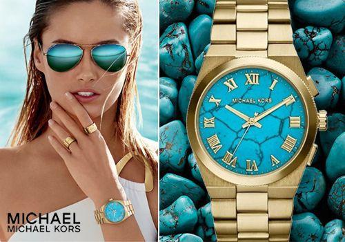 Γυναικείο χρυσό ρολόι Michael Kors με τιρκουάζ καντράν, από 370€ Μόνο 119€
