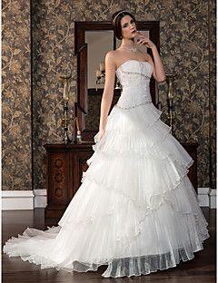 Vestido de Noiva Trapézio Cauda Escova (Cetim/Tule)