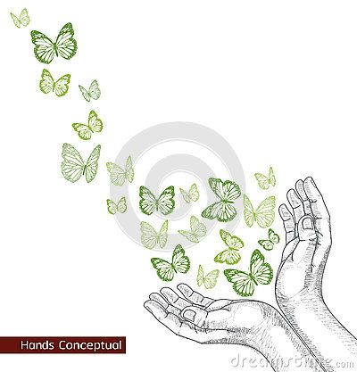 drawing-hand- releasing- butterfly