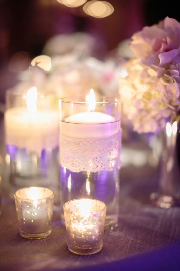 Mercury glass and lace reception table decor for Glass tables for wedding reception