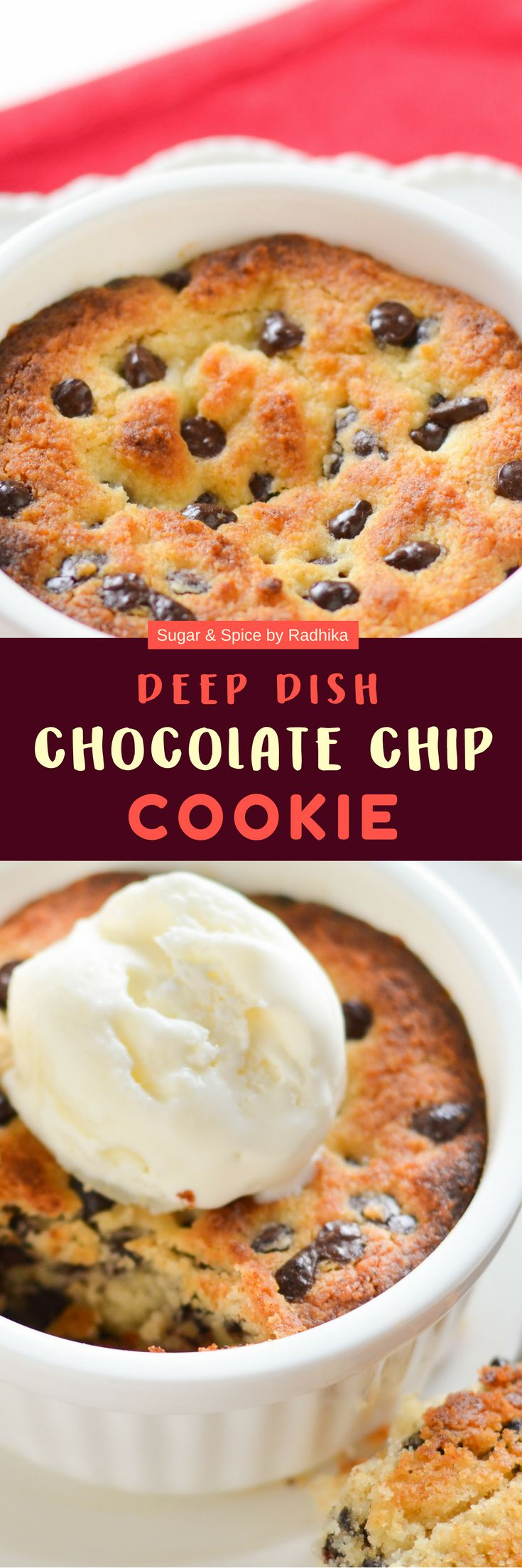 The best, most delicious, most gooey and softest #eggless Deep Dish #Chocolate #Chip #Cookie made in less than 25 minutes.#cookies #chocochip #recipe #deepdish #eggless #dessert #forone