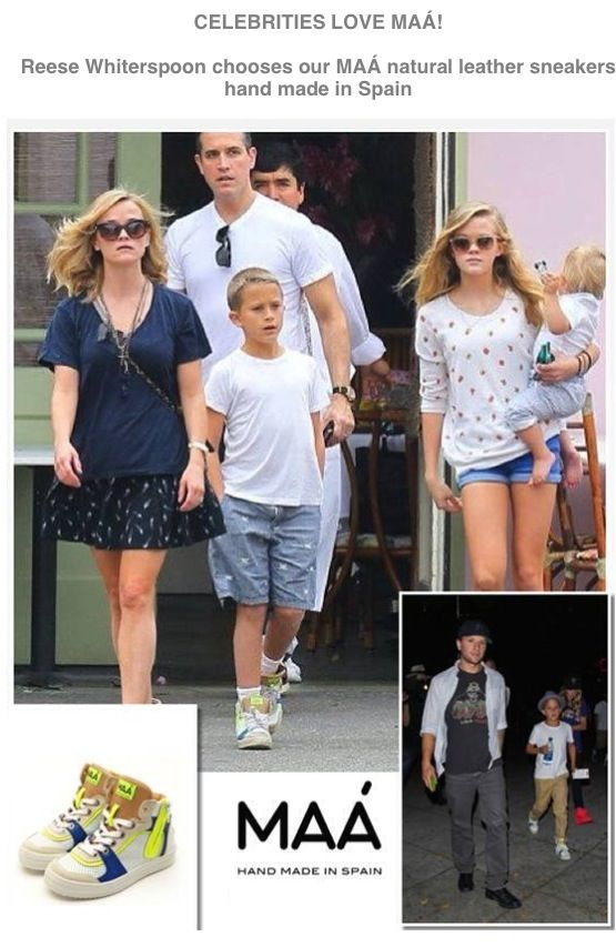 CELEBRITIES LOVE MAÁ  Reese Whiterspoon chooses MAÁ natural leather sneakers    Exclusively available at apple & pie