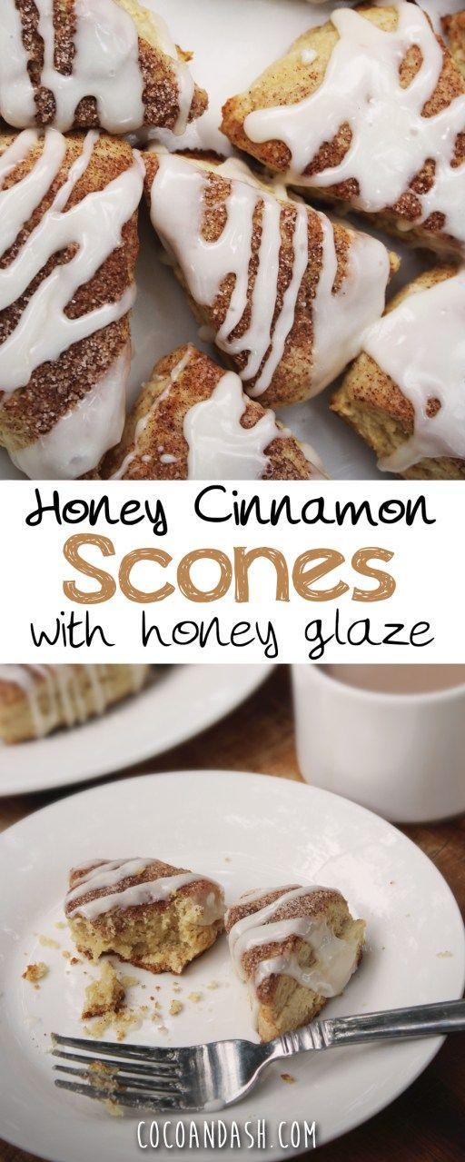 Honey Cinnamon Scones with a cinnamon glaze. Great for Breakfast or Brunch! #scones #cinnamon #honey #recipes