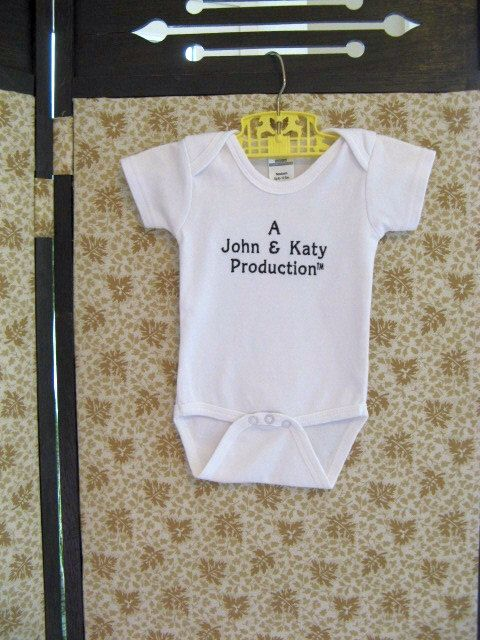 Personalized Unisex Baby One Piece Mom and Dad Production Bodysuit Unisex Baby Shower Gift by BabyDudsBoutique on Etsy https://www.etsy.com/listing/160034907/personalized-unisex-baby-one-piece-mom