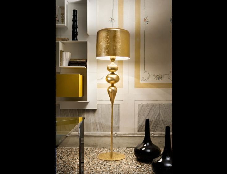 These eva gold lamps with golden lamp shades by masiero are embracing this years hottest color and trend in home decor the italian company presents these