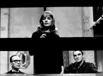James Villiers, Jeanne Moreau and Stanley Baker in Eva directed by Joseph Losey, 1962