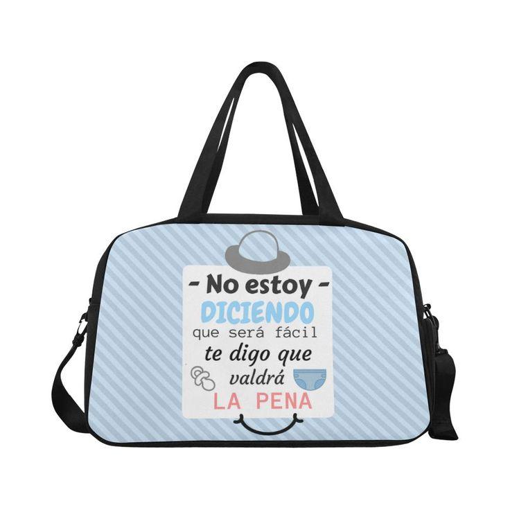 """Bolso maternidad para pañales """" No estoy diciendo que será fácil te digo que valdrá la pena"""" en azul"""