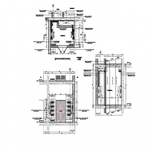 2d Drawings details plan and a section of electrical room