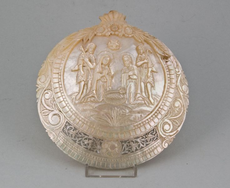 Jerusalem mother of pearl carved shell depicting our lord