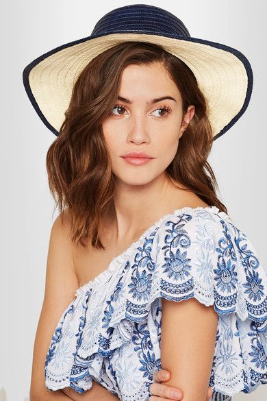 Sophie Anderson - Laila Pompom-embellished Toquilla Straw Hat - Navy - S