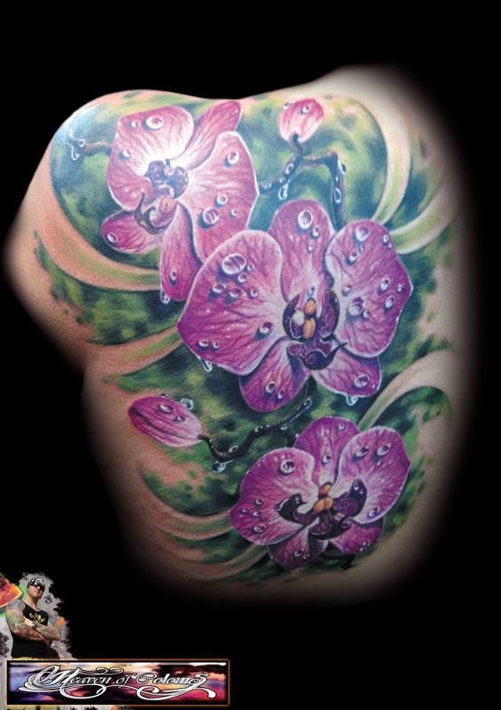 Purple Orchid Tattoo - Randy Engelhard http://tattoosflower.com/purple-orchid-tattoo-randy-engelhard/