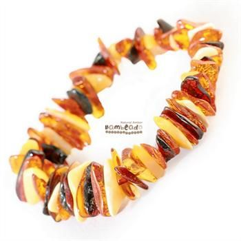 This may be an alternative to help with eczema,arthritis or general aches and pains. This 18cm bracelet is made from amber nuggets that have been smoothed so that there are no sharp edges. This Mixed Nugget bracelet is threaded onto elastic to stretch over your wrist. While Bambeado amber comes in several colours, the colour is just a matter of personal choice.