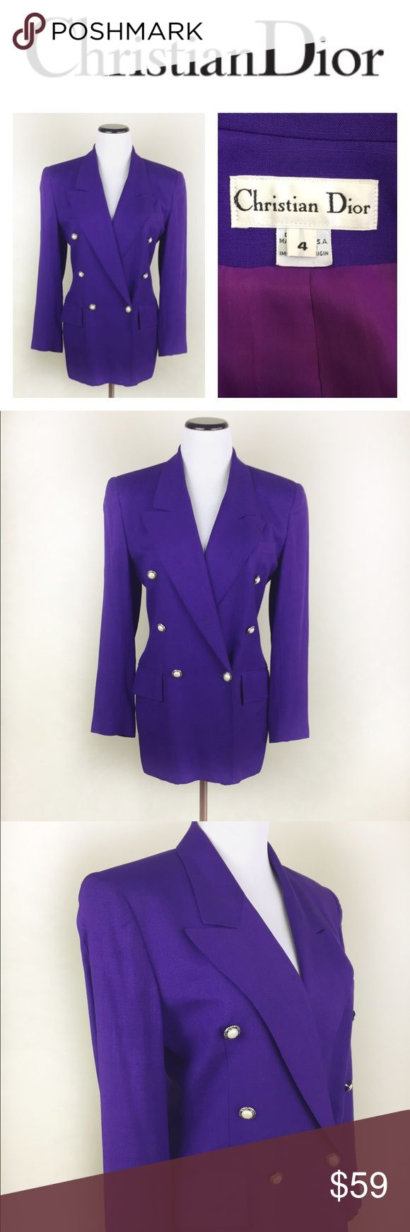 🔥SALE🔥CHRISTIAN DIOR VINTAGE PURPLE BLAZER4 Divine Christian Dios purple blazer with gorgeous pearl like button silver framed in size 4. This is a vintage item, with very little signs of use, excellent condition. I bought it a few years back in a NY vintage store, no fabric tag but feels like cotton/linen blend. It has a full late 80's early 90's vibe (which I'm a sucker for!) has some small details on the end of sleeve check pic. Shoulder padded. Christian Dior Jackets & Coats Blazers