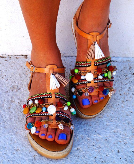 Sandalias de cuero genuino Cassiopeia con por MabuByMariaBk en Etsy