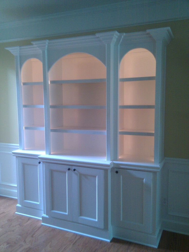 Custom Built In Bookcases With Arched Tops Fluted Column