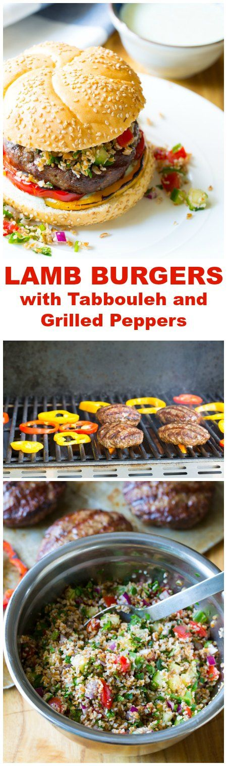 Must-Make LAMB BURGERS with Tabbouleh and Grilled Peppers #grill #lamb #hamburgers