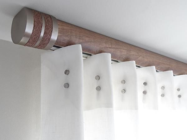 Flush ceiling fix curtain pole in Walnut Ash stained wood by Walcot House
