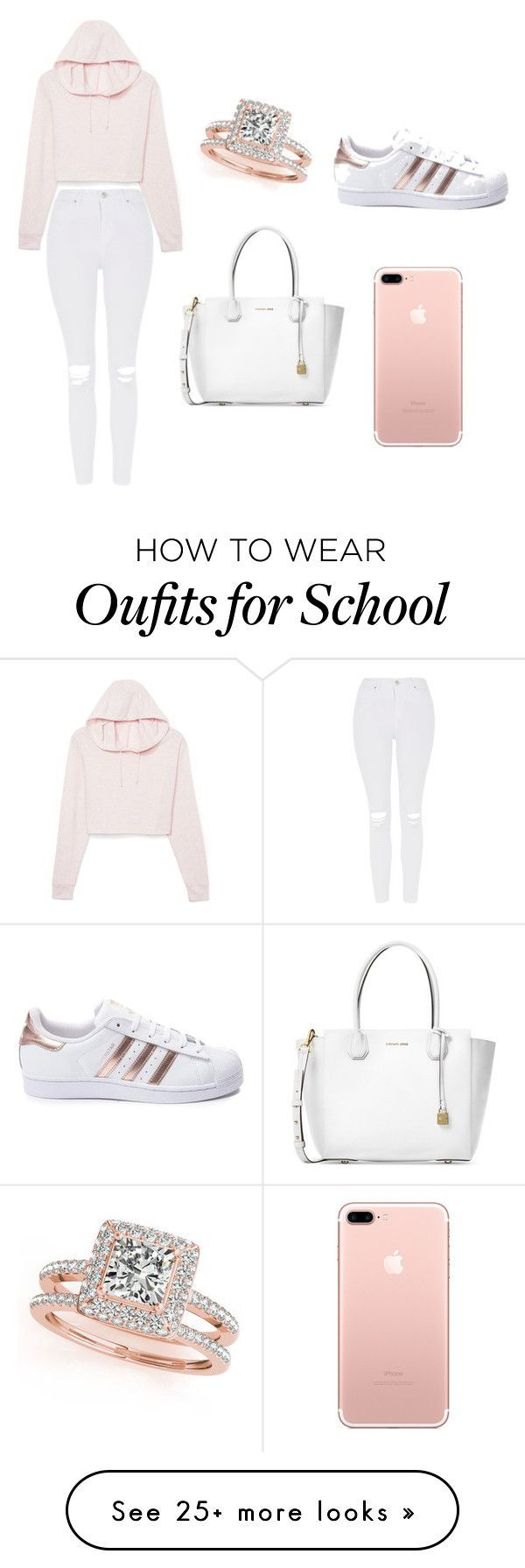 """school outfit"" by ashlehhfhbffg on Polyvore featuring Michael Kors, Topshop, adidas and Allurez"