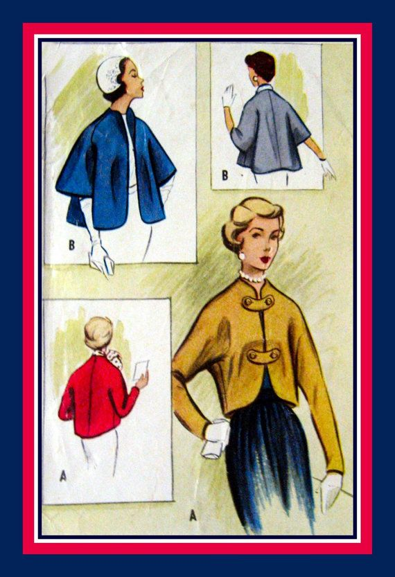 Vintage 1953 SHORTIE & CAPELET JACKETS by FarfallaDesignStudio, $18.00: 1953 Shorti, Vintage Sewing, Vintage 1953, Capelet Jackets, Sewing Patterns
