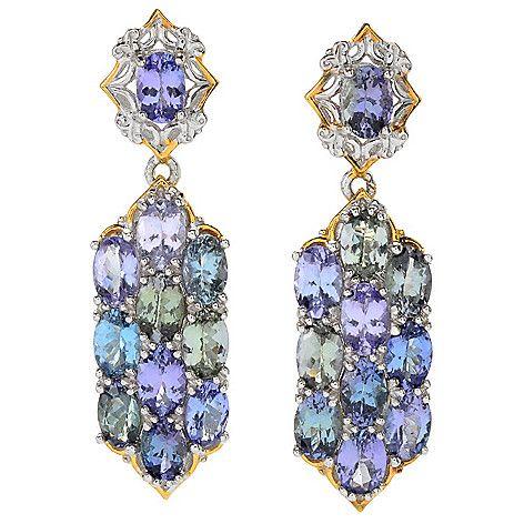 "160-108 - Gems en Vogue 1.5"" 9.90ctw Zoisite & Tanzanite Drop Earrings"