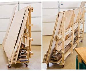 I want to do this hanging not on casters  Portable Sheet-Goods Rack Configure full-sheet side as marking/cutting jig (like a panel saw but using a trim saw)