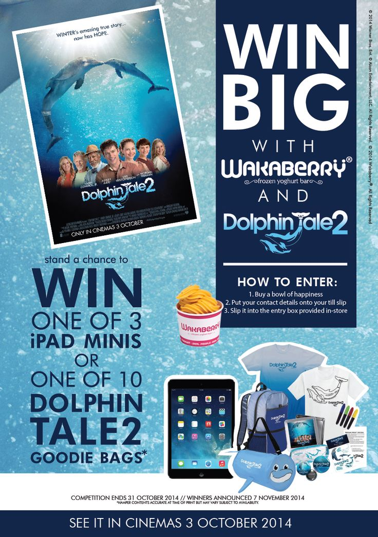 Wakaberry is splashing out this month with Warner Brothers and Dolphin Tale 2! Stand a chance to win 1 of 3 iPad Minis OR 1 of 10 Dolphin Tale 2 Goodie Bags! All you have to do is buy your favourite bowl of happiness, write your name, phone number and email address on the back of your till slip, and pop it in the entry box in-store. Competition closes 31 October. Winners will be announced 7 November.