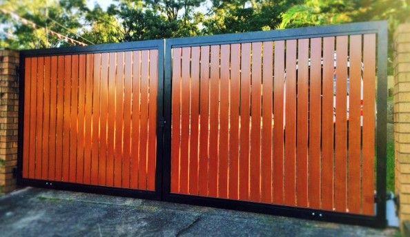 Double Swing Gates Black Aluminium Frame With Aliwood Timber Like Vertical Slats