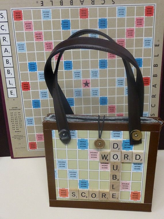 Upcycled Scrabble Game Purse Novelty Gift made from Scrabble game board and Scrabble Tiles recycled