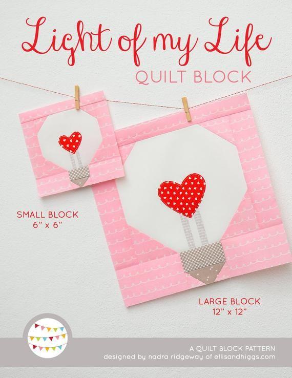 Pdf Valentine S Day Quilt Pattern Heart Bulb Quilt Pattern