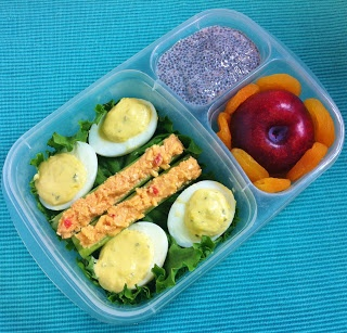 Deviled Eggs, Celery with Pimento Cheese, Chia Seed Pudding, Red Plum and Dried Apricots