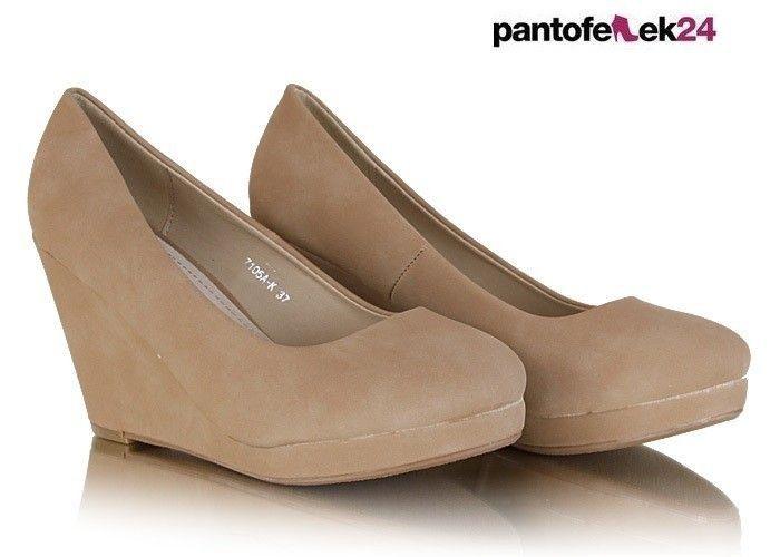 Beżowe buty na koturnie / Beige wedge-heeled shoes / 39,50 PLN #beige #shoes #fashion #spring #summer