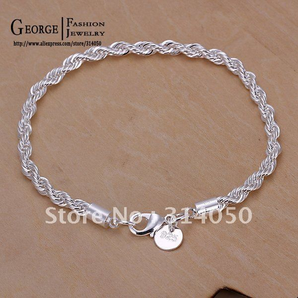 Free shipping,3mm silver bracelte,Fashion jewelry,men classic bracelets,Nickle free antiallergic,high quality,GSSPH022 $1.19
