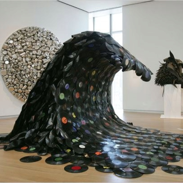 Sound wave by Jean Shin. Made entirely of recycled vinyl records.