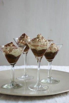 Tiramisini | Nigella Lawson > 7 tbsp espresso or strong instant coffee; 2 tbsp coffee liqueur; 4 savoiardi cookies (ladyfingers); 2 egg whites; 1 cup mascarpone; 2 tbsp honey; 2 tbsp marsala; approx 1 tsp good-quality unsweetened cocoa powder; 4 small (approx 1/2 cup) martini glasses