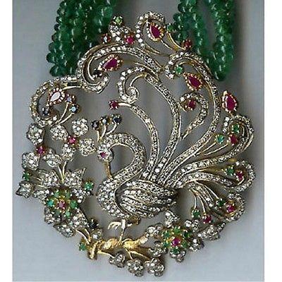 6 87ct Majestic Real Diamond Peacock Necklace 14k Hallmark Gold | eBay