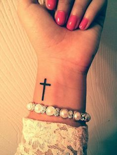 My new cross tattoo on my wrist. Love it. On the other side!!