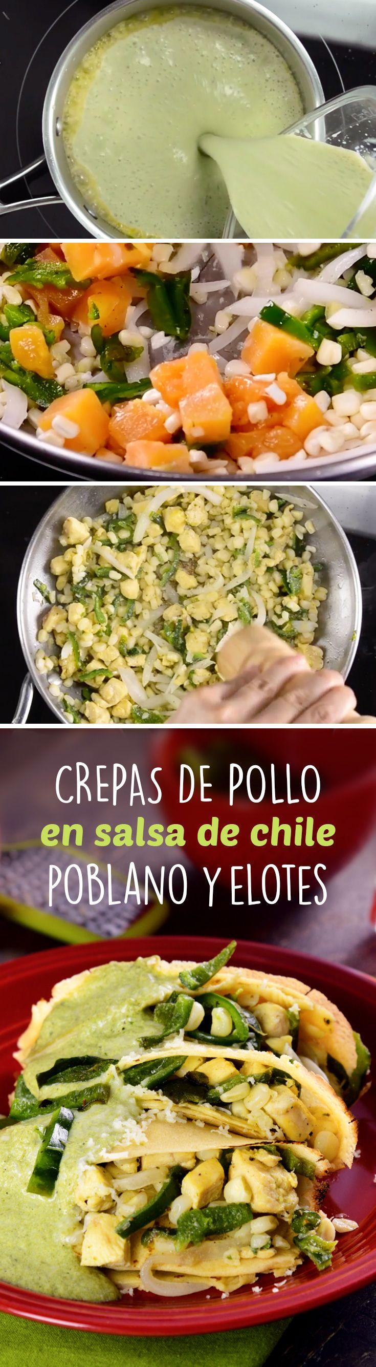 Crepas de pollo en salsa de chile poblano y elotes, servida con una salsa cremosa de chile poblano con queso crema. Son una receta fácil para que las cocines a toda tu familia.