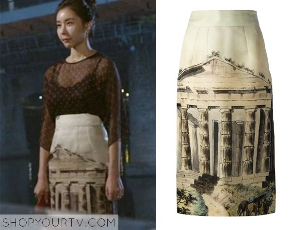 Golden Cross: Episode 9 Hong Sa Ra's Temple Print Skirt - ShopYourTv