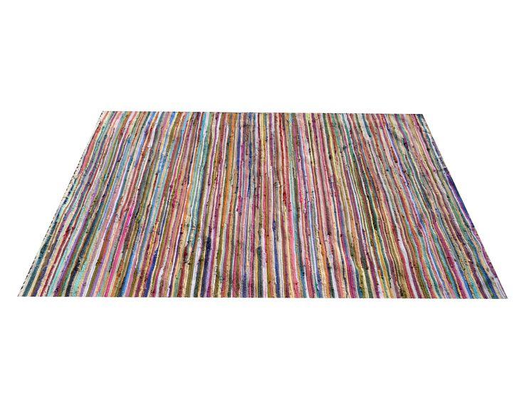 Multicolor medium oosters handgeweven vloerkleed stukken textiel met de hand aan elkaar - Stukken outs ...