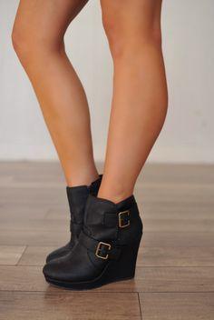 "Dottie Couture Boutique - Leatherette Wedge Bootie, $39.00 (<a href=""http://www.dottiecouture.com/leatherette-wedge-bootie/"" rel=""nofollow"" target=""_blank"">www.dottiecouture...</a>)"
