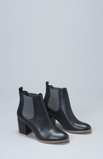 Women's Hal Heel Leather Boot in Black and Grey by Elk The Label
