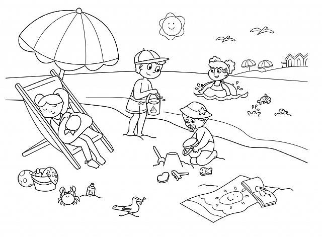Bambini Che Giocano In Spiaggia Disegni Da Colorare Mare Disegni