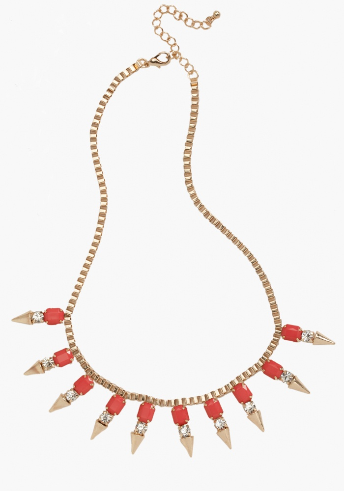 Box Chain & Spike Statement Necklace - Calypso Coral - 1Sz