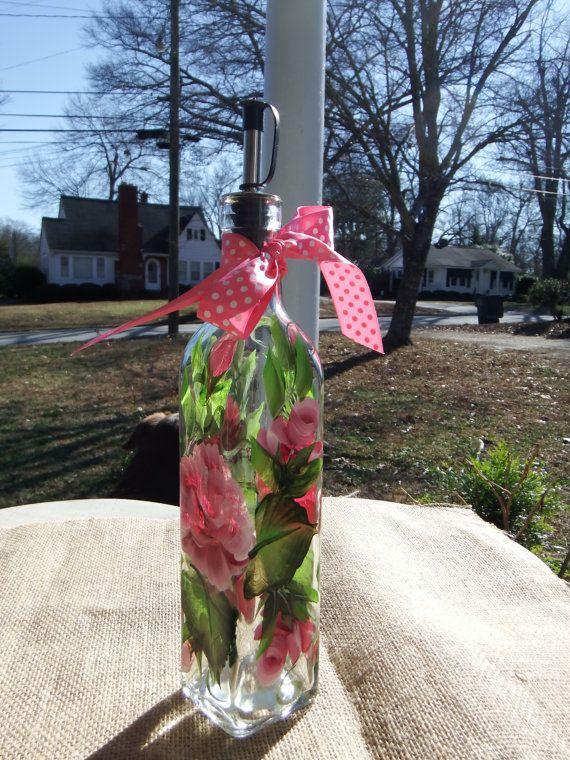 Pintado a mano rosa botella de jabón líquido por 800ChestnutStreet