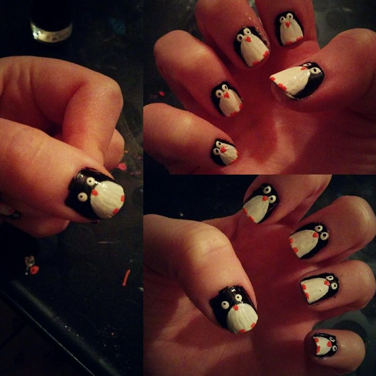Penguin nails... ended up a little werid! 😂