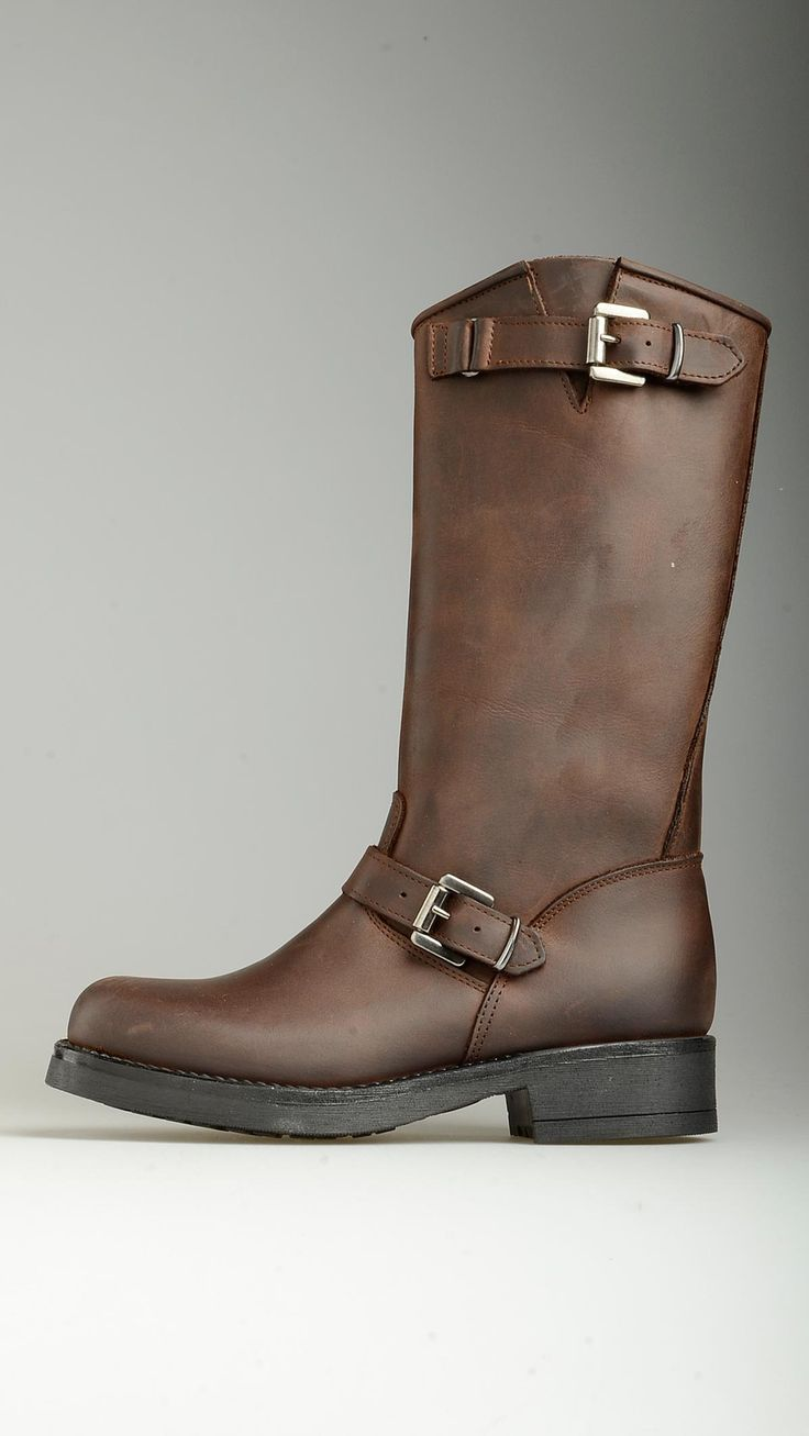 Double straps detailing dark chocolate leather boots featuring round toe, visible stitching, 1.2'' heeled, non-slip rubber sole, 100% leather.