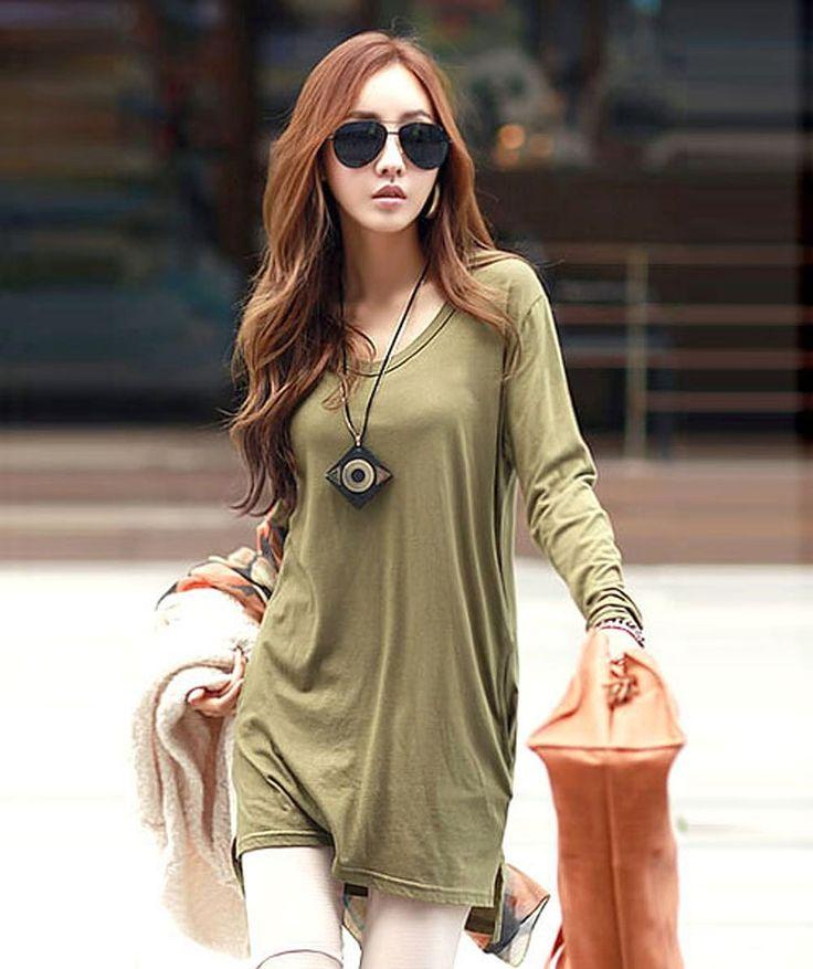 Amazon.co.jp: ポケット付 ロング丈長袖カットソー レディース トップス (軍緑色): 服&ファッション小物通販