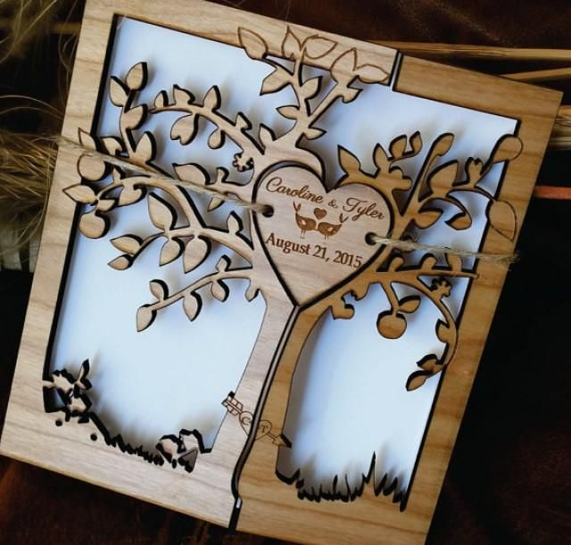 * This listing is for tree of life Wood Wedding Invitation *  This wood Wedding Invitations are laser cut and engraved.They are made from Cherry                                                                                                                                                                                 More