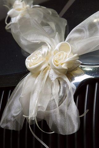 Strik Motorkap Tule met Bloemen Wit 2